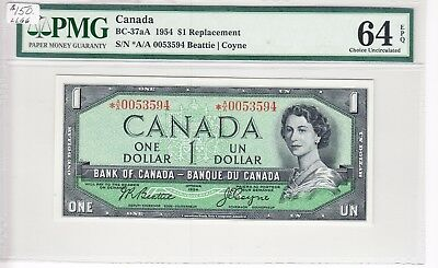 1954 Bank of Canada $1.00 Bank Note - PMG Unc 64 EPQ *A/A 0053594