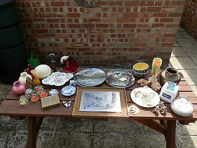 Job lot of antiques and collectible items Royal Doulton Poole Delft's Brass +