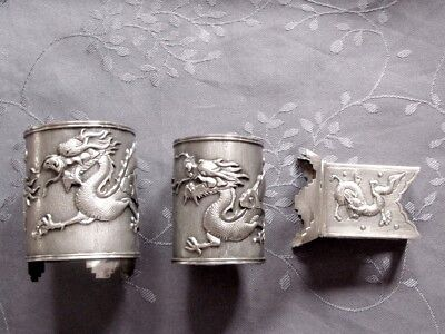 Chinese Export Silver Gobelet Dragon Argent Massif Chine Timbale