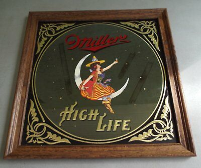 Vintage 1980 Miller High Life Beer Mirror Bar Sign In Box Girl On Moon Witch