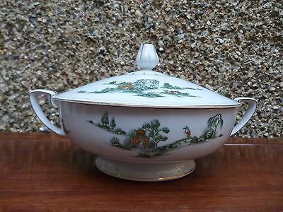 Narumi Fine China Tureen - Green Willow Made In Japan Vintage/antique