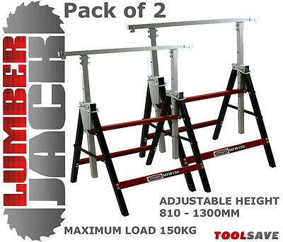2x Lumberjack Folding Work Horse Trestle Saw Adjustable Height Stand 150kg Each