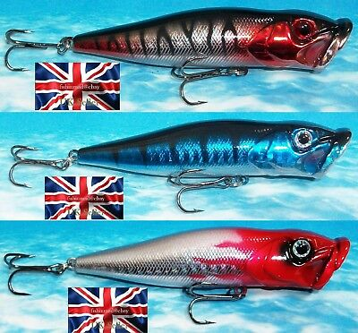 "3 x 12g 90mm 3.5"" RATTLING FLOATING SURFACE POPPER BASS PIKE FISHING LURES"