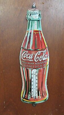"Antique Vintage Tin Coca Cola Bottle Advertising Thermometer 17"" WORKS!"