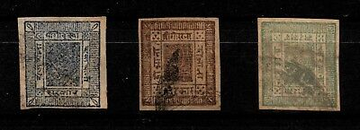 Nepal, 1881, Crown and Kukris, 1, 2, 4 Anna, Mi.-Nr. 1-3, cancelled