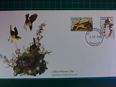 """""""Birds of the World"""" ( FDC ) 'YELLOW-BREASTED CHAT'  ~ DOMINICA 1985"""