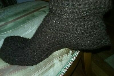 HAND CROCHETED Adult size medium skipper Booties Brown