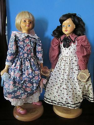 "Set Of 2 Robert Raikes Originals: ""abigail & Claire"" - Wood And Soft Body Dolls"