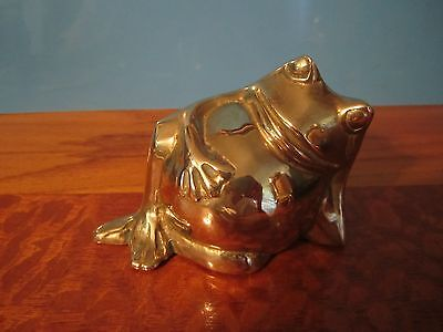 Solid Brass Bronze Frog Figurine: Shiny, Clean, Quite Heavy Character--3 1/4""