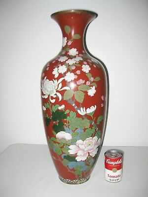 "Antique Vintage Monumental HUGE 23 1/2"" Tall Meiji Japanese Cloisonne Vase"