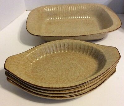 Pottery Craft Stoneware Casserole Dish With Serving Dishes Set Of 4 Brown / Tan