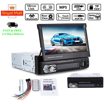 7'' MP5 Car Radio 1 DIN Stereo Touch Screen Bluetooth Retractable USB SD AUX FM