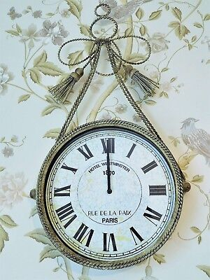 Shabby vintage chic french antique style braided tassle metal wall clock