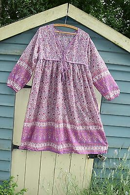 Indian cotton ethnic summer dress m 12 14 10 8 kaftan boho hippy spell festival