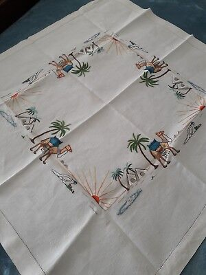 Antique Vintage Hand Embroidered  Orientalist 1920's Linen Tablecloth Scarf