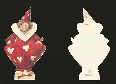 Cute Red Valentine Girl Victorian Embossed  Gift Tag Old Print Factory