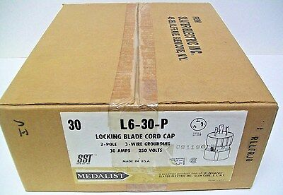 (30) Slater Medalist L6-30P Locking Blade Cord Cap 30 Amp 250 Volt 2 Pole 3 Wire