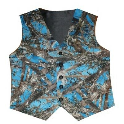 Boy's Blue Cobalt Camo Satin Wedding Vest Country Rustic Fall Homecoming Prom