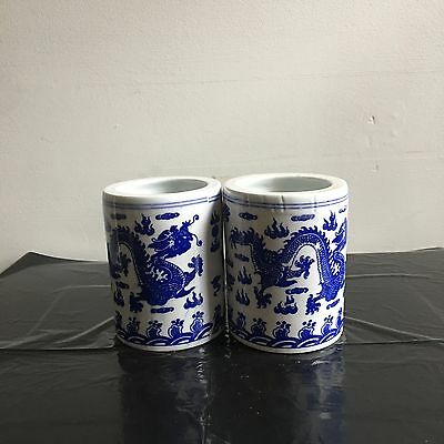 Blue and White Porcelain Pen Holder Set of Two