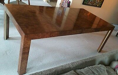 Mid-Century Thomasville Burlwood Parsons Dining Table w/ 2 Leaves Baughman Style