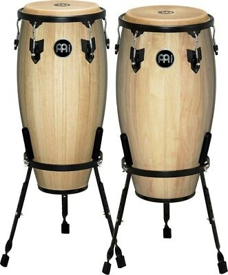 """Meinl Headliner Series 11"""" & 12"""" Wood conga set with Basket Stands Natural"""