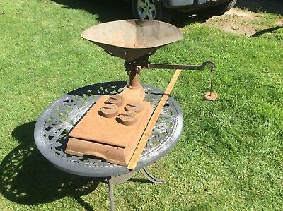 Antique Grocery Store Basket Scale , With Weights , Rustic Country