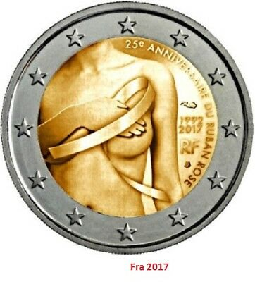 IN STOCK - FRANCE 2 Euro 2017 commemorative coin - Breast Cancer - UNC