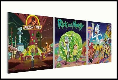 "RICK AND MORTY Set of three 10"" Mounted Square Canvas Pictures Prints"