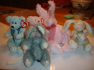 Ty Retired Attic Bears  Jointed  New Armstrong, Scarlet, Squeaky, Fields, Georgi