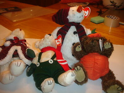 Ty Retired Attic Bears  Jointed  New  Mrs Santa Bear, Weatherby, Chillings Peter