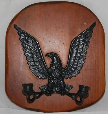 Beautiful Vintage Metal Eagle Wood Brass Wall Candle holder