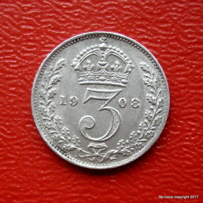King Edward Vii Sterling Silver 1908 Threepence High Collectable Grade.