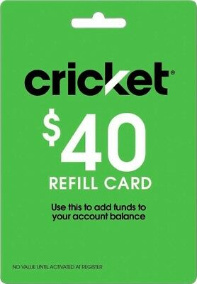 Cricket Wireless - $40 Refill Card NO EMAIL/MESSAGE DELIVERY NEW