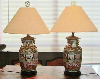 Pair of Large Antique Chinese Famille Rose Canton Vase Lamps ~ Exquisite ~ NR!