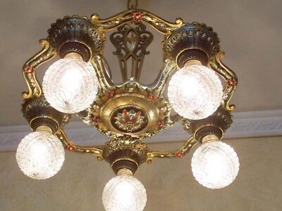 254b Vintage 1920s Ceiling Light lamp fixture polychrome chandelier art nouveau