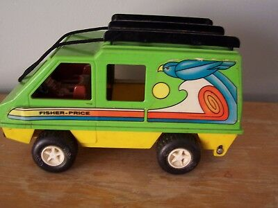 1977 Fisher Price Green & Yellow Plastic Van - Made In U. S. A.