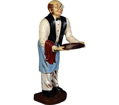 Old Man Butler With Tray Statue Table top Chef Prop Restaurant Display Decor