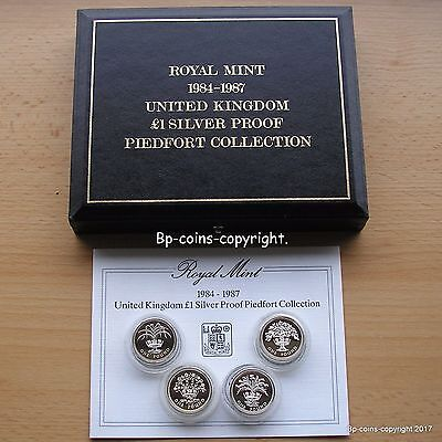 Superb 1984-1987 Silver Piedfort Proof Four Coin Collection Box+Cert.
