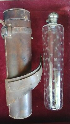 British Glass and Silver Riding Flask with Leather Case