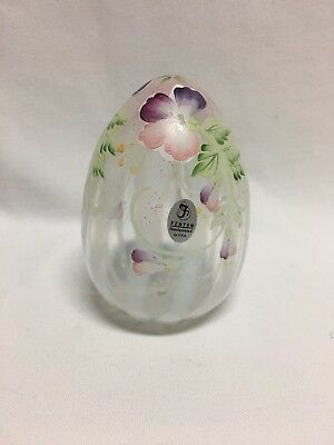"""Fenton Large Opalescent Optic Rib Floral Painted Egg Limited Edition 5"""" 1642 K7"""
