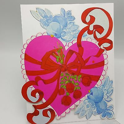 Vintage Valentine Decoration Cardboard Wall Pink Heart Bluebird