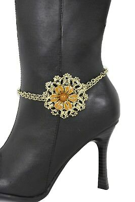 Women Gold Metal Chain Boot Bracelet Anklet Shoe Big Brown Flower Charm Jewelry