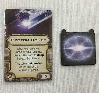 Star Wars X-wing Miniatures Protons Bombs BOMB upgrade card W/ TOKEN!