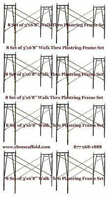 "8 SET of 3' X 6'8"" X 10' Plastering Masonry Scaffold Frame Set CBM Scaffold"
