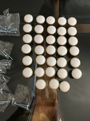 Porcelain Cabinet Or Door Knobs, With With Gold/ Brass , 33 Pcs