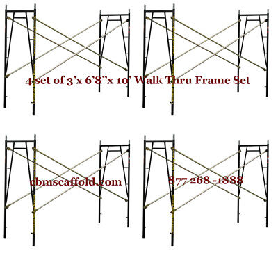 "4 SET of 3' X 6'8"" X 10' Plastering Masonry Scaffold Frame Set CBMscaffoldcom"