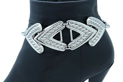Women Silver Metal Chain Boot Bracelet Anklet Shoe Mesh Wide Band Charm Jewelry