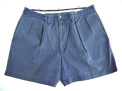 VINTAGE POLO RALPH LAUREN navy blue chino cotton SHORTS mens 40 pleated