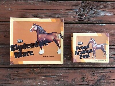 1979 BREYER Clydesdale Mare #83 & Mahogany Foal #219 With Original Boxes