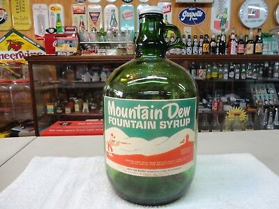 Mountain Dew Soda Fountain Syrup Paper Label 1 Gallon Jug Green  Glass Hillbilly